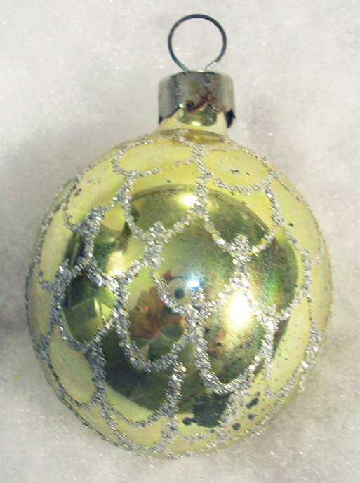 Shiny Brite Vintage Mercury Glass Gold Silverglitter